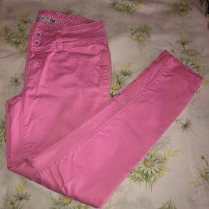 Pink Ankle Skinny Jeans Jeggings